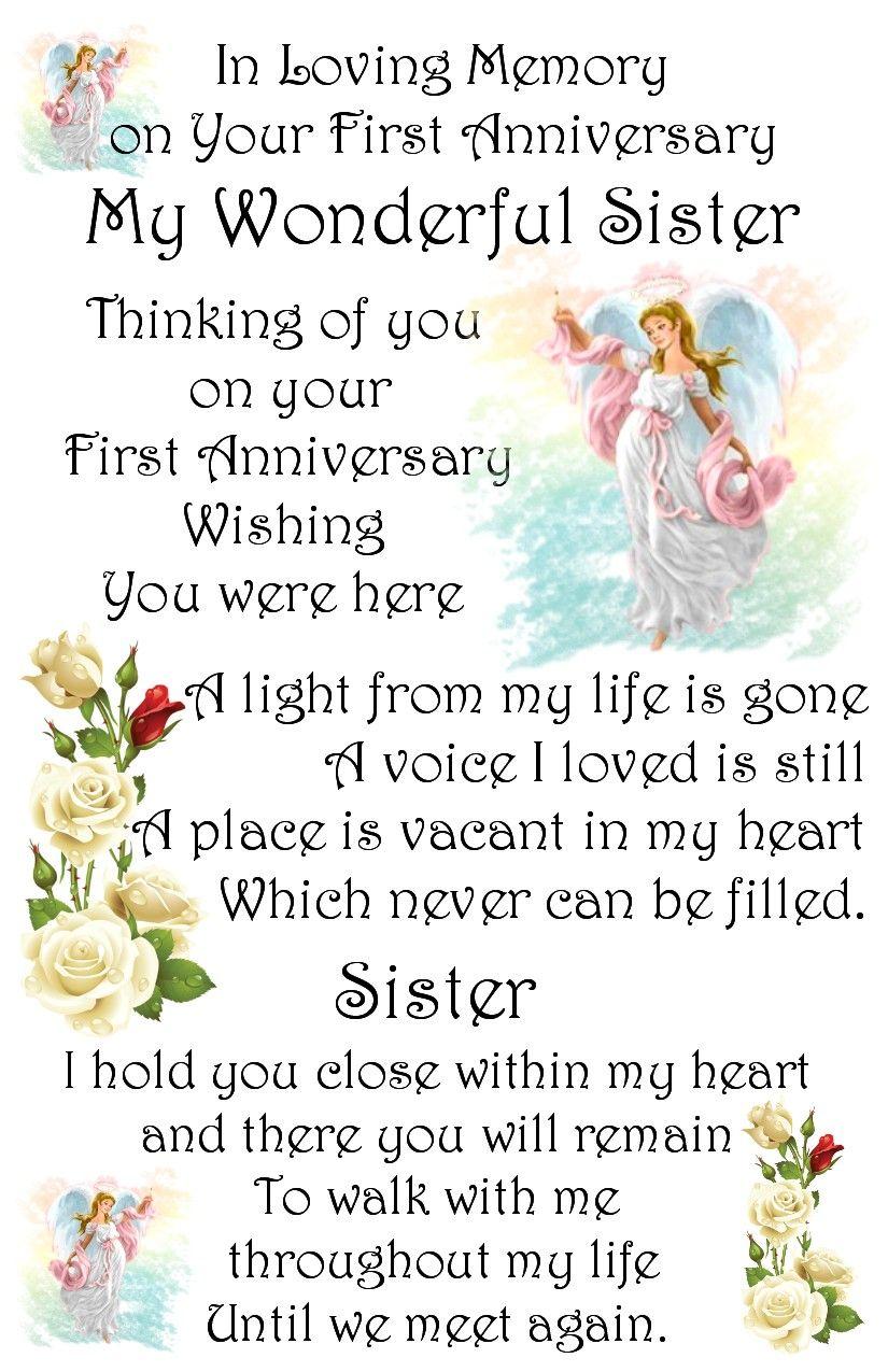 Sister Memory Card In Loving Memory Death Anniversary Anniversary
