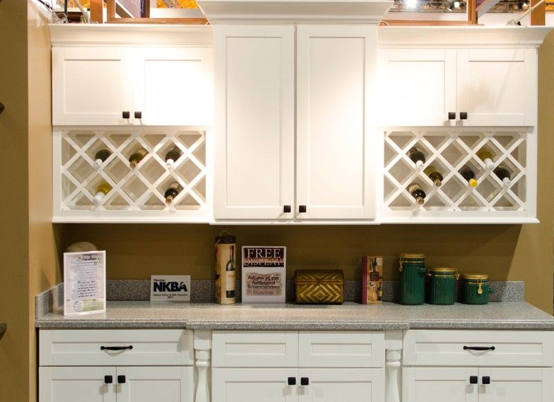 White Shaker Kitchen Cabinets With Double Wine Racks