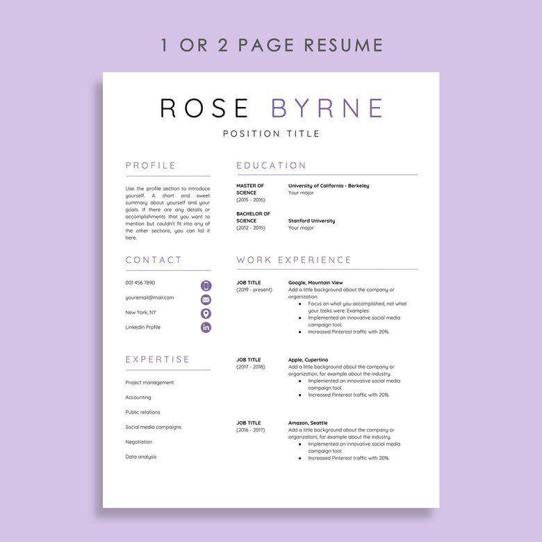 Resume Template Google Docs Google Docs Resume Cover Etsy Resume Templates Downloadable Resume Template Resume Template