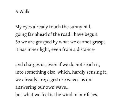 A Walk Rainer Maria Rilke Translated By Robert Bly