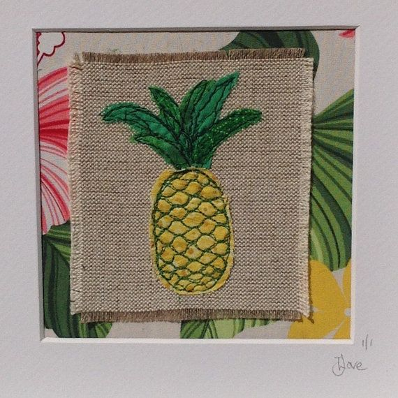 Pineapple freemotion embroidered art. by JaneLoveTextileArt