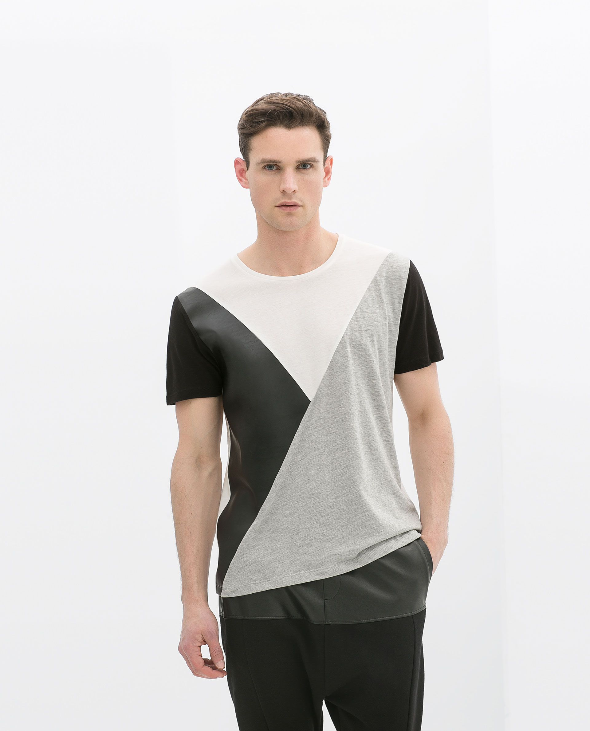 Zara black t shirt india - Zara Man Faux Leather Combination T Shirt With Seams