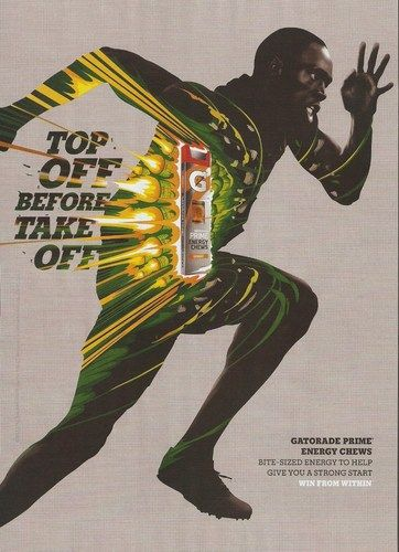 Usain Bolt Gatorade Energy Chews Advertisement 2013 Magazine Print Ad Funny Commercial Ads Print Ads Funny Ads