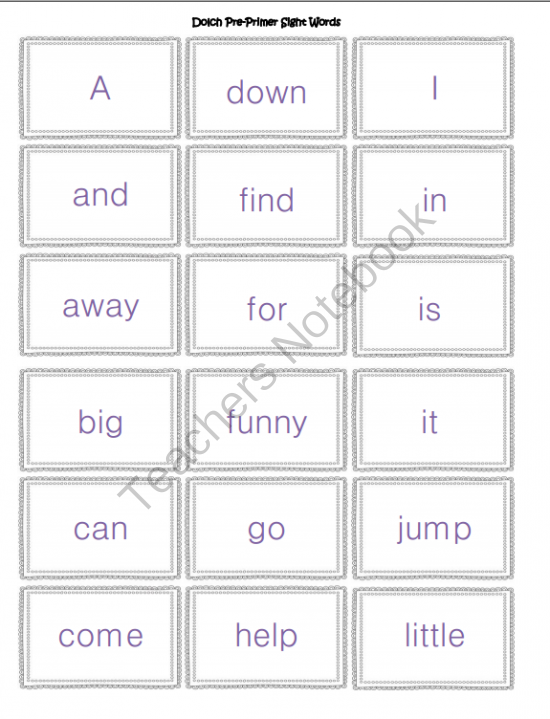 dolch sight word flash cards from tinyspaceadventures on teachersnotebook com  11 pages