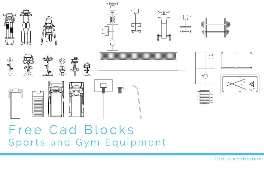 Free cad blocks sport and gym equipment pinterest