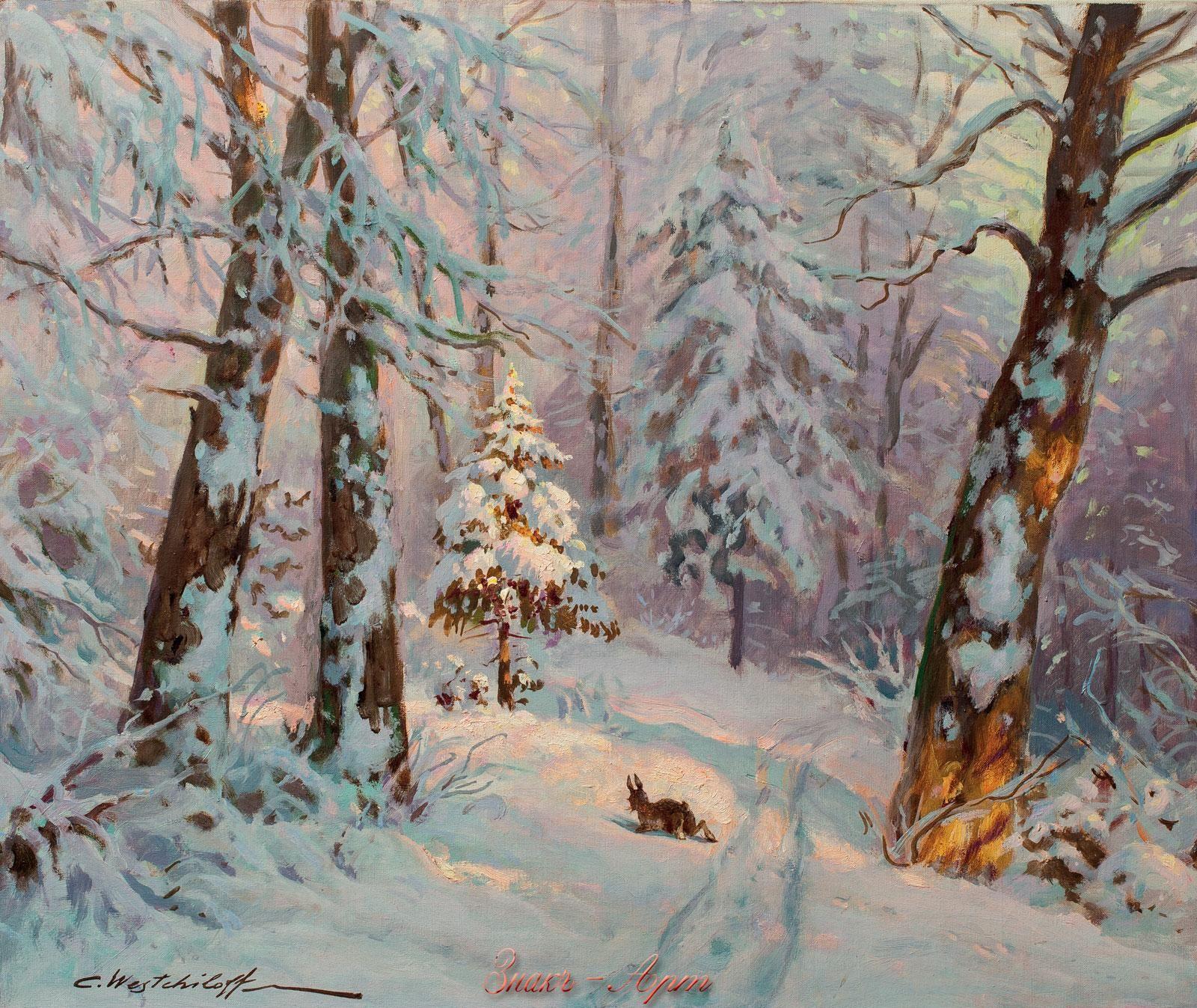 Картина зимнего леса