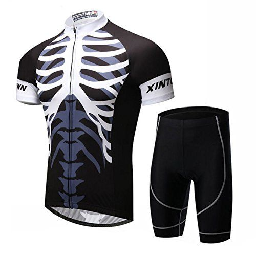 c6809cc7e Xinzechen Mens Bicycle Sportswear Polyester Short Sleeve Cycling Jersey and  3D Padded Shorts Sets Skeleton White Size M     Details can be found by…