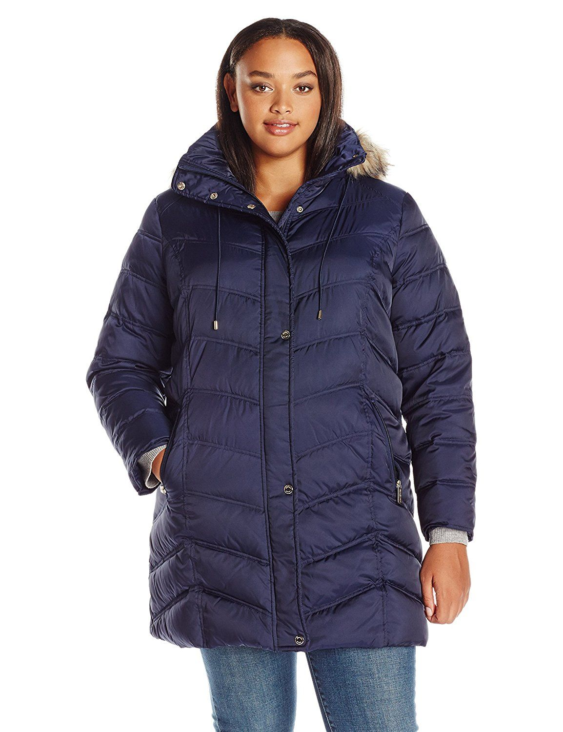 Kenneth Cole Women's Plus Size New York Chevron Down Coat with ... : kenneth cole chevron quilted coat - Adamdwight.com