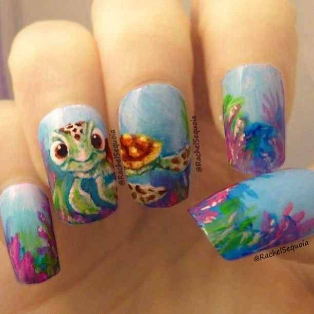Nemo Surfer Turtle Nails - Nemo Surfer Turtle Nails Nailed It ! Pinterest Turtle Nails