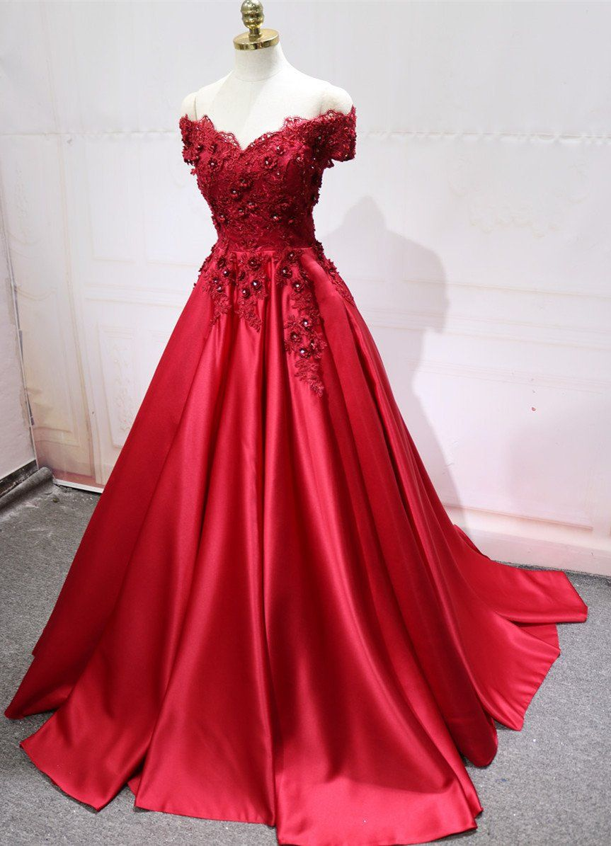13384322ae0 Item Description : A Glamorous Formal Fit Satin DressWith V-neck And Off  The Shoulder Neckline.Puffy Skirts with Lace-up Back design,perfect for  prom ...