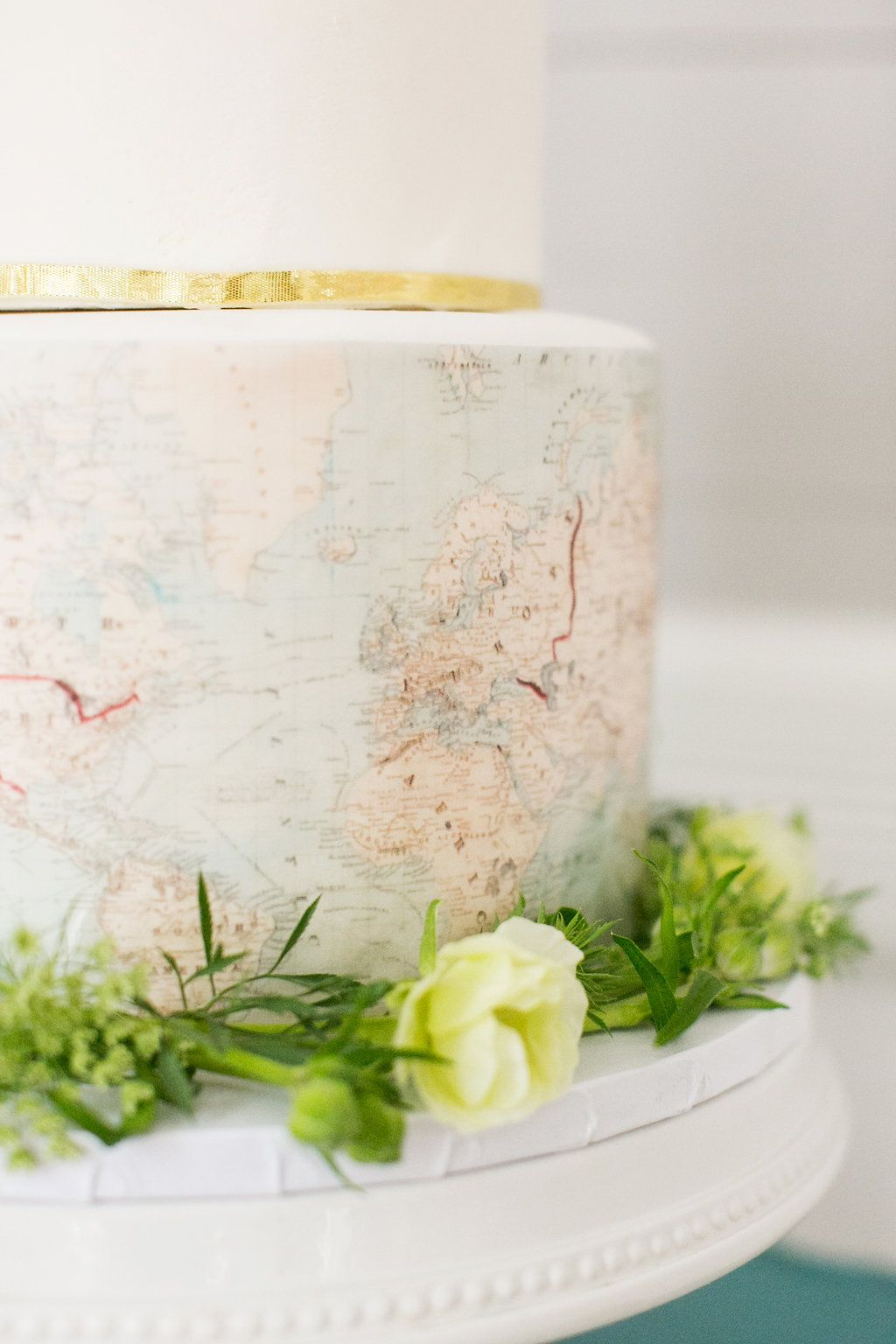 My Adventure Themed Bridal Shower | Travel theme parties, Map cake ...