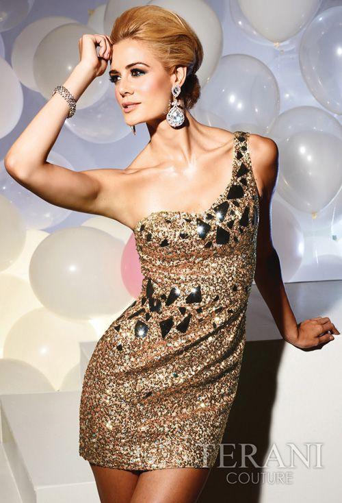2012 Prom Dresses! Terani - Gold One Shoulder Mirror Beaded Short Cocktail Dress - 0-12