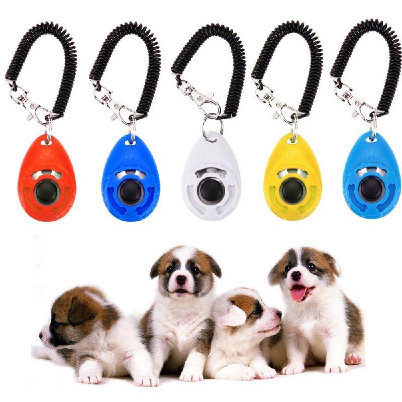 Pet Dog Puppy Click Trainer Clicker Dog Training Aid Wrist Strap