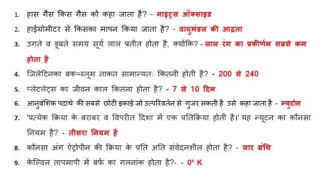 General Science Questions and Answers One Liner Hindi PDF