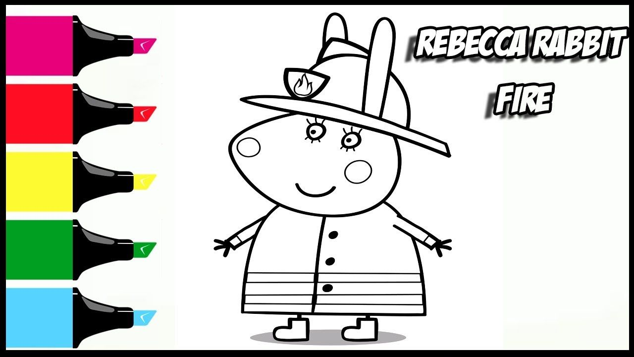 Peppa Pig Rebecca Rabbit Fire Coloring Book Pages Video For Kids With Co Coloring Book Pages Youtube Rebecca Rabbit