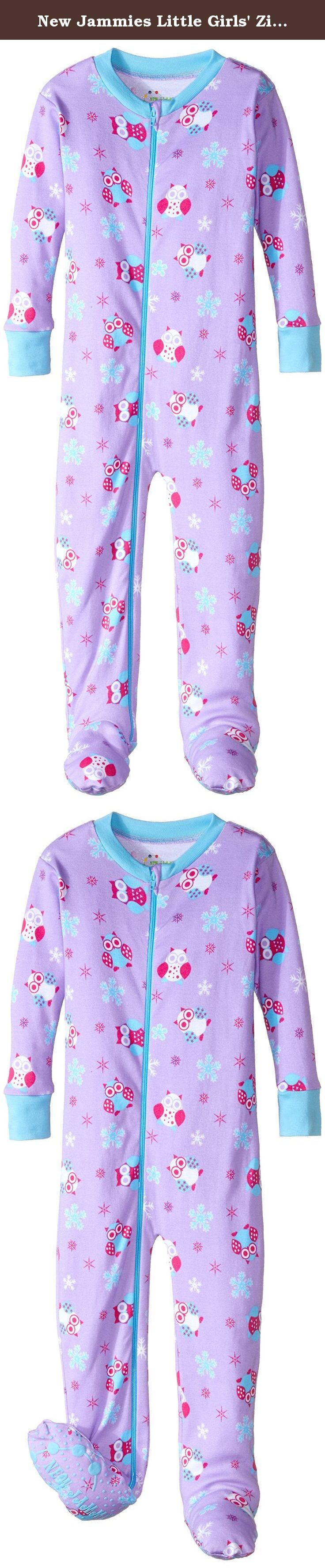 new jammies little girls' zippered footie pajamas snow owl girls  - new jammies little girls' zippered footie pajamas snow owl girls t our