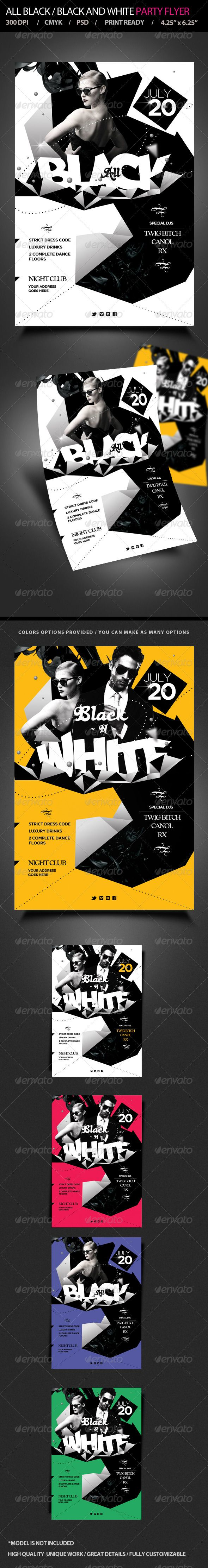 All Black / Black and White  Party Flyer