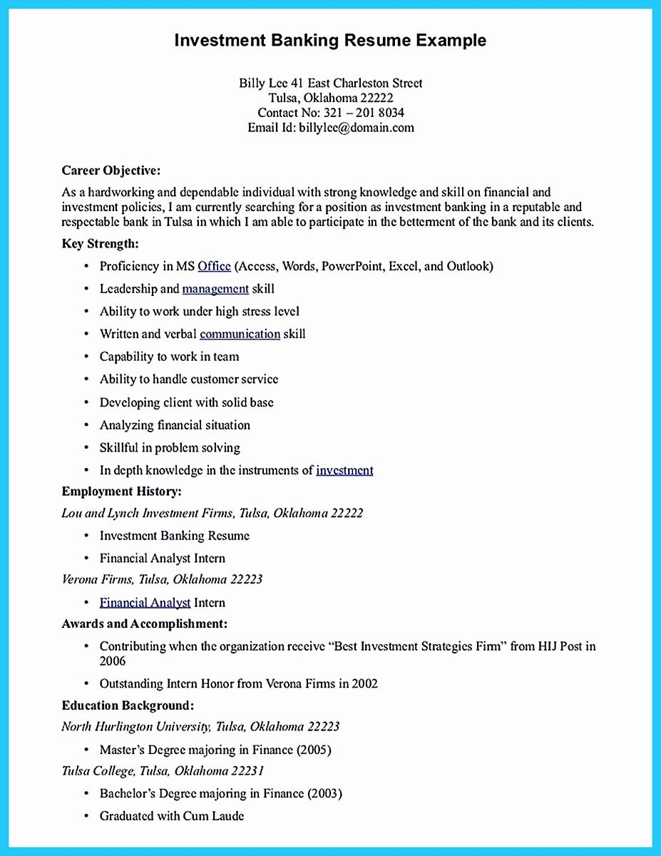 Experienced Investment Banking Resume Lovely Starting Successful Career From A Great Bank Good Objective For Resume Resume Objective Resume Objective Statement