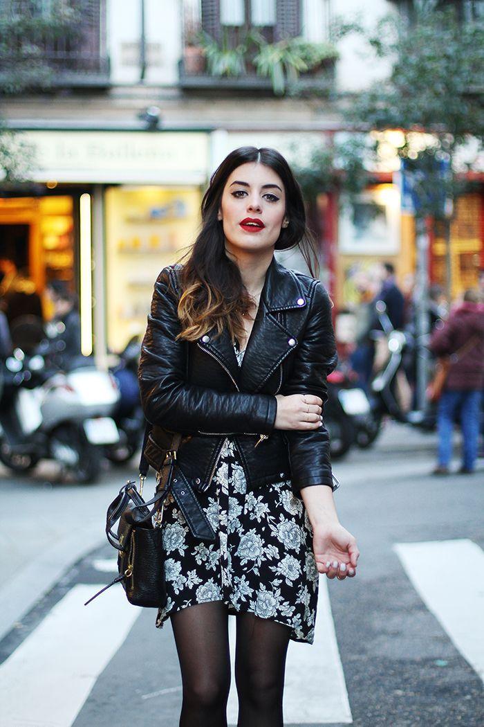 Women's Black Leather Biker Jacket, Black and White Floral