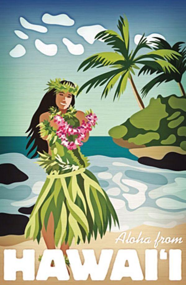 Travel Posters Hawaiian Hula Girl Aloha From Hawaii Hawaiian