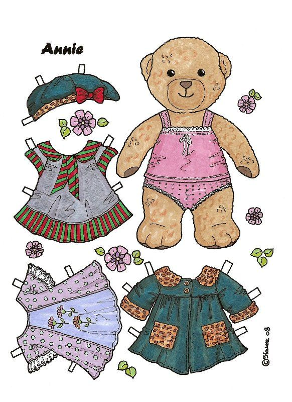 bears paper dolls 2 arielle gabriel animal paper dolls paper doll board 12 paper dolls. Black Bedroom Furniture Sets. Home Design Ideas