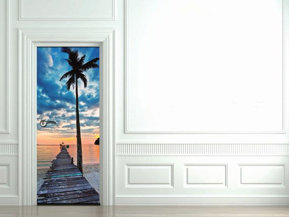 Door Sticker Tropical Beach With Palm And Pier Self