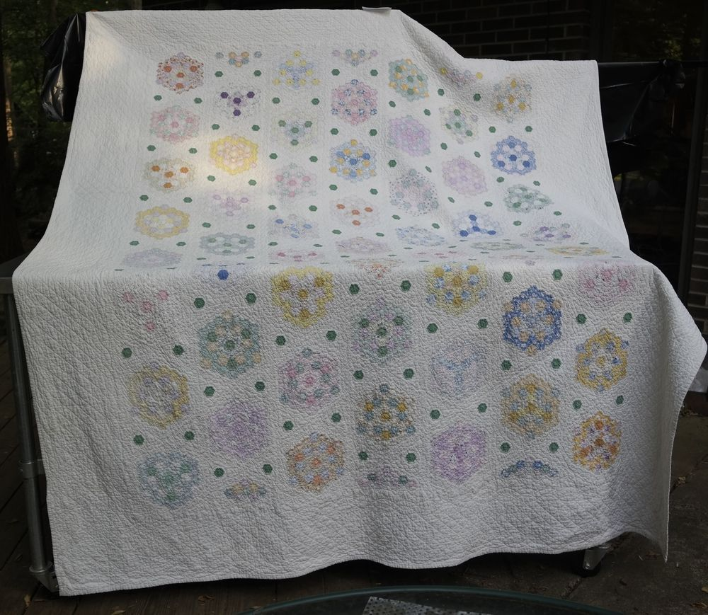 Vintage Grandmother's Flower Garden Quilt, Hand Pieced and Quilted Tiny Stitches