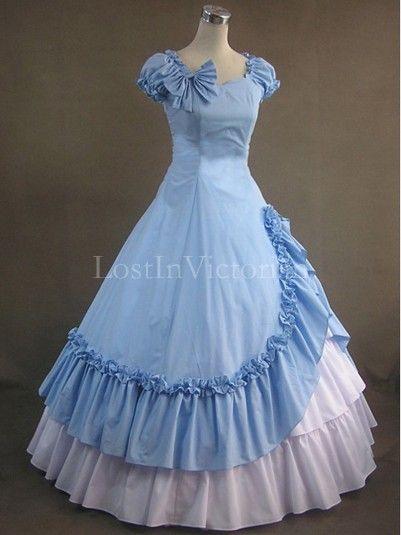 Blue Gothic Lolita Dress Adult Civil War Victorian Southern Belle Dress