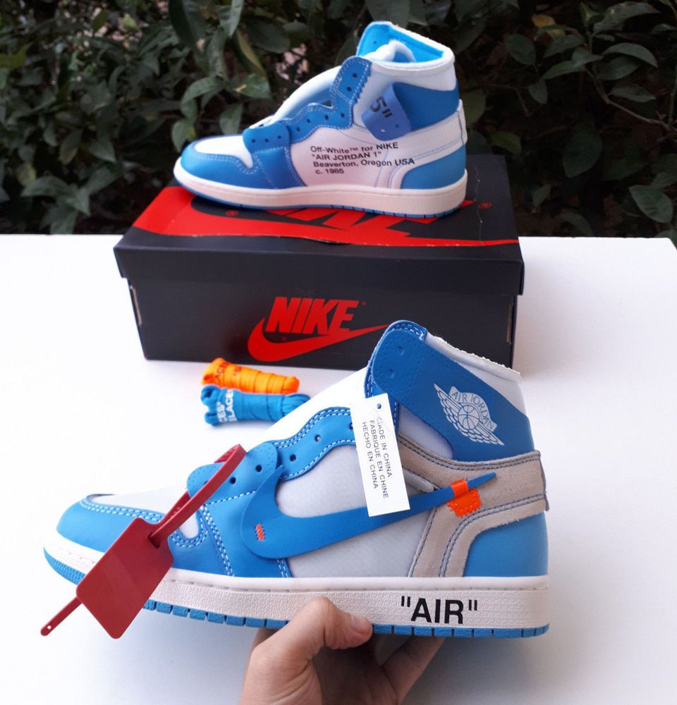 Nike X Off White Air Jordan 1 Unc Blue Size 10 Uk Eu 45 Us 11