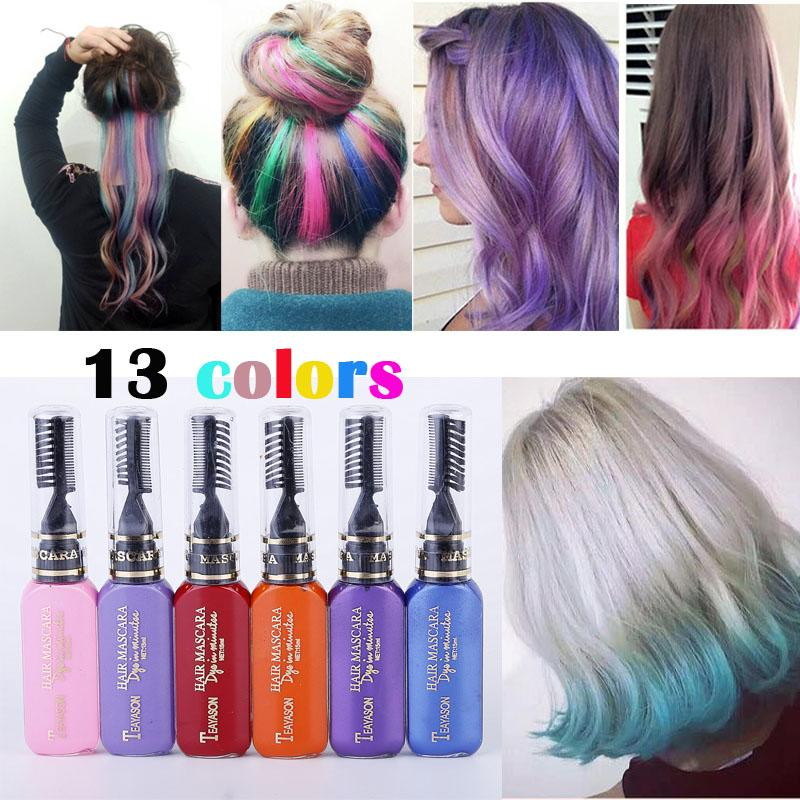 13 Colors One Time Hair Color Dye Temporary Non Toxic Diy Mascara Cream Blue Grey Purple Gadgetsflow Coupon Christm Promo Tech