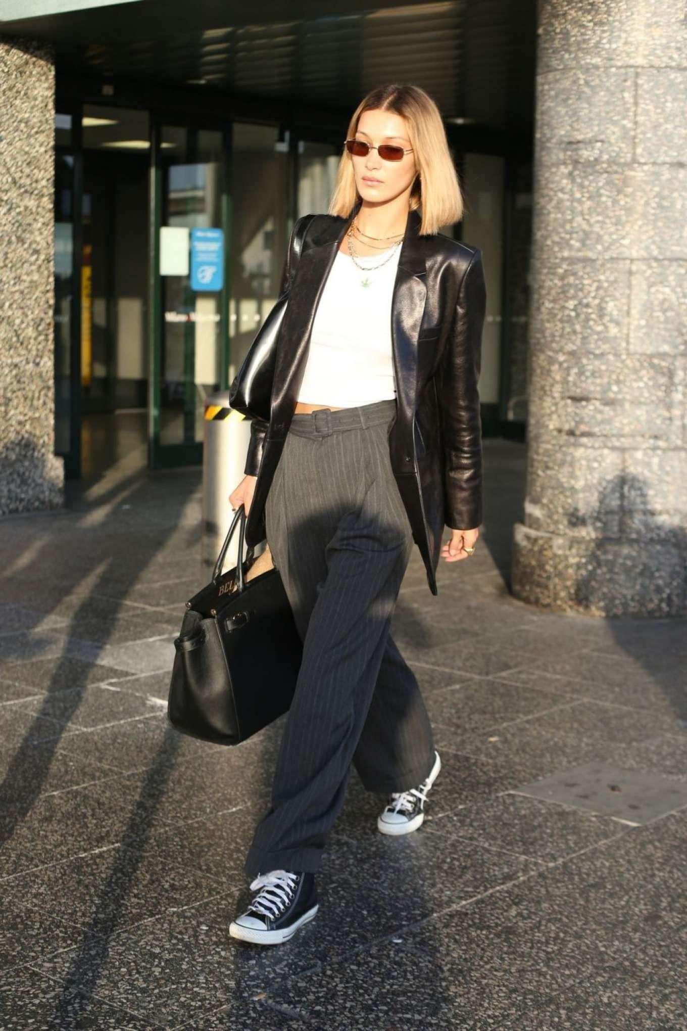 Photos Bella Hadid In Black Leather Blazer Arrives In Milan Bella Hadid Outfits Black Leather Blazer Hadid Style [ 2040 x 1360 Pixel ]
