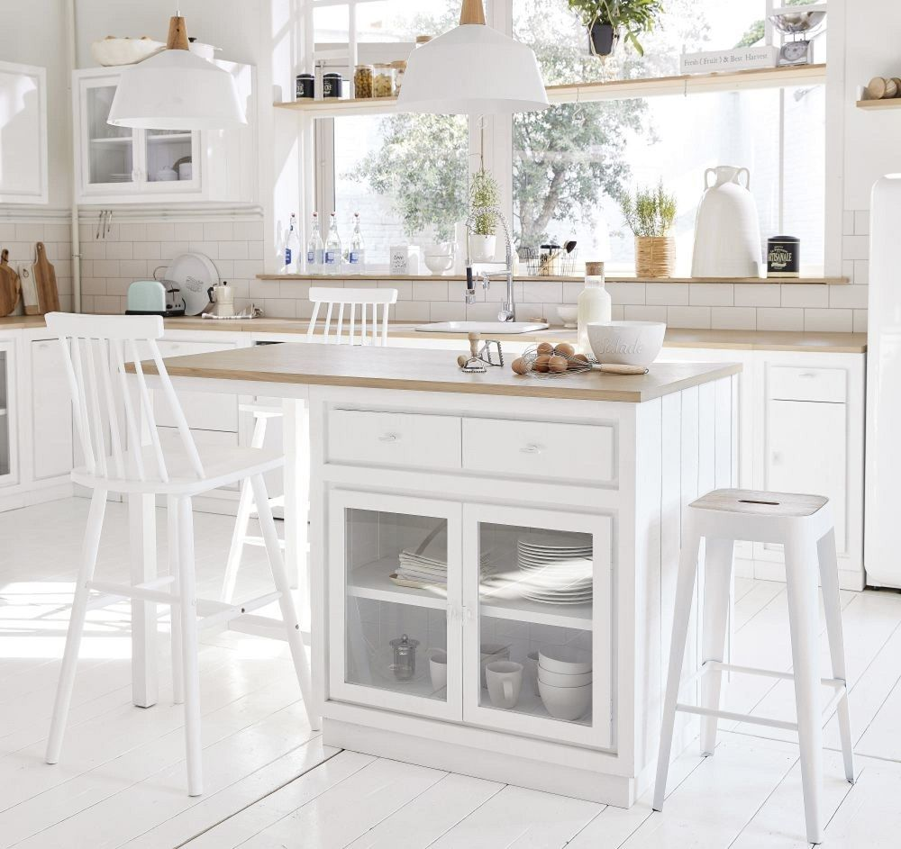 Îlot central cuisine Embrun 15 tiroirs 15 portes blanc - Meuble de