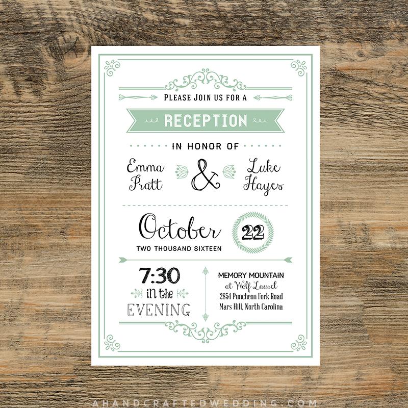 DIY Mint Reception Only Invitation