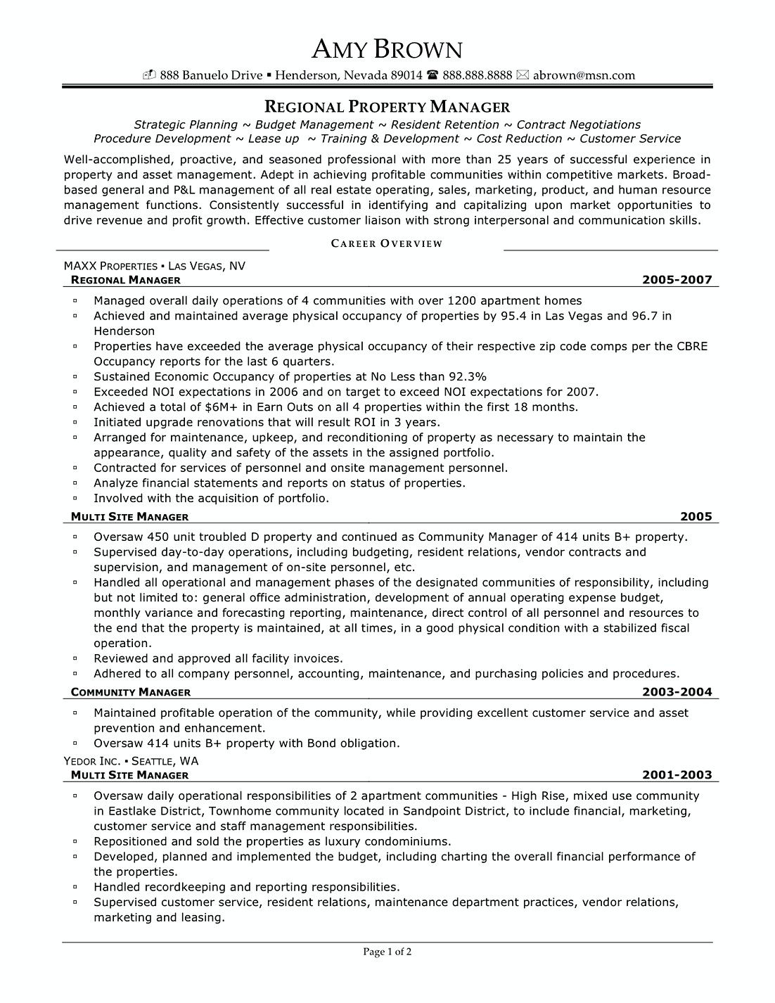 Apartment Manager Resume Regional Property Manager Resume Samples  Commercial Property