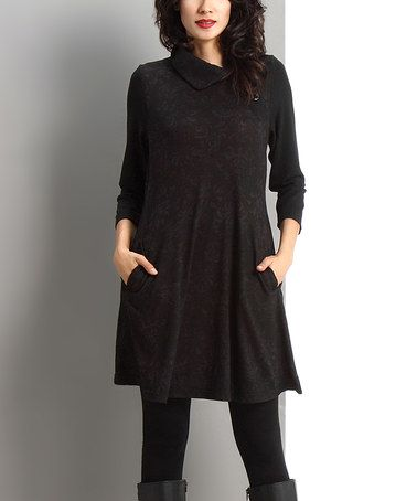 Love this Black Damask Side-Button Shift Dress by Reborn Collection on #zulily! #zulilyfinds
