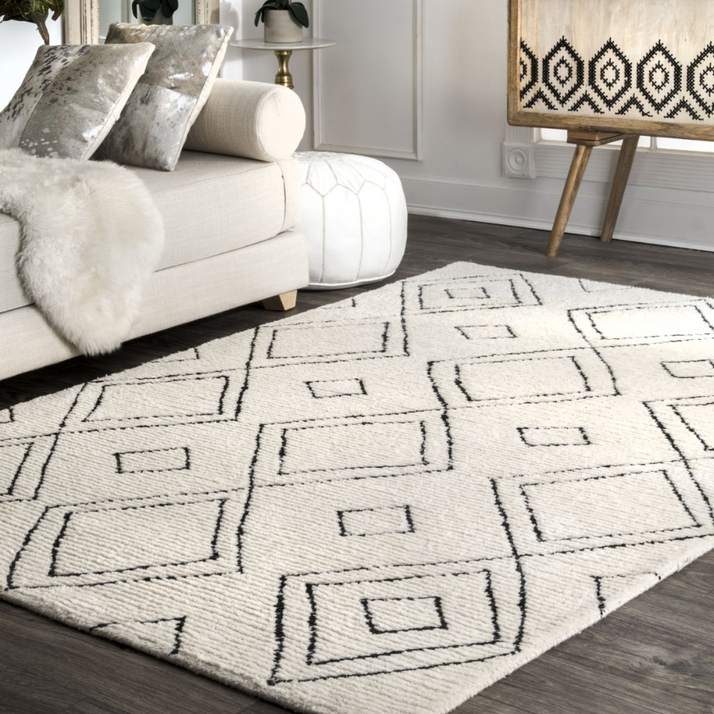 Vega Moroccan Diamond Wool Natural Rug In 2020 Wool Area Rugs Plush Area Rugs Natural Area Rugs