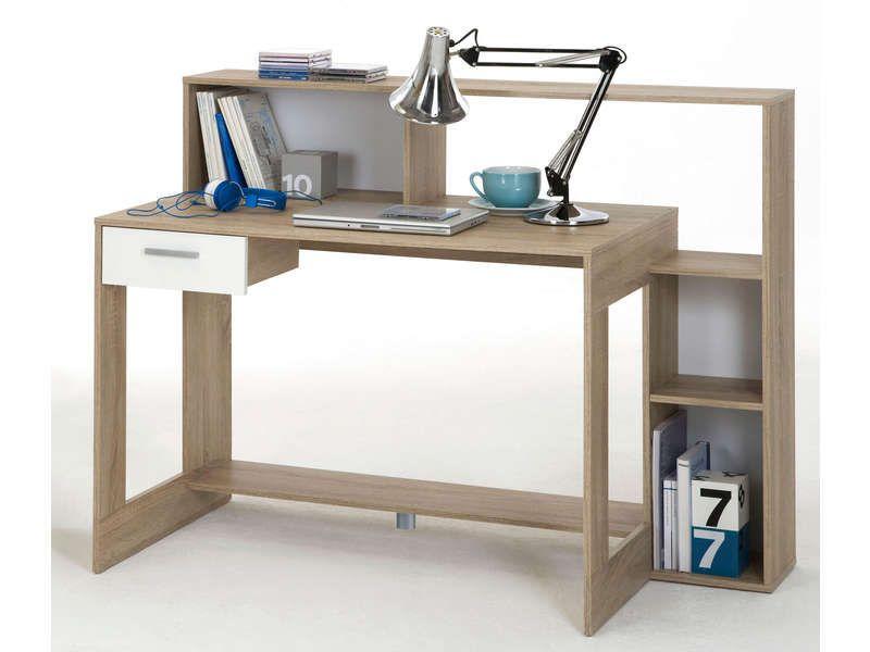 Bureau tiroir laurenz coloris chêne et blanc vente de meuble