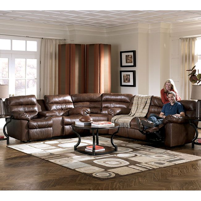Memphis - Brown Reclining Sectional Living Room Set ...