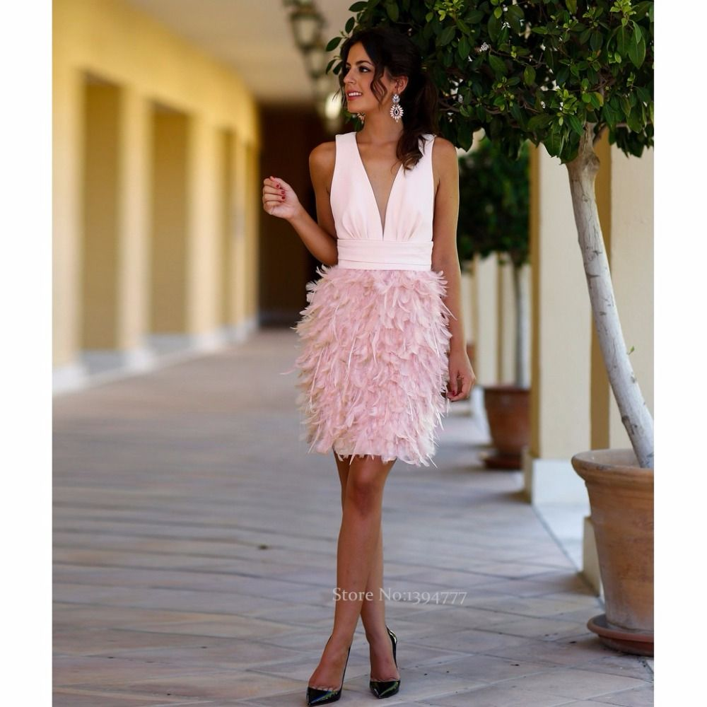 New Arrival Sexy Pink Short Party Dresses Low Neckline Fashion ...