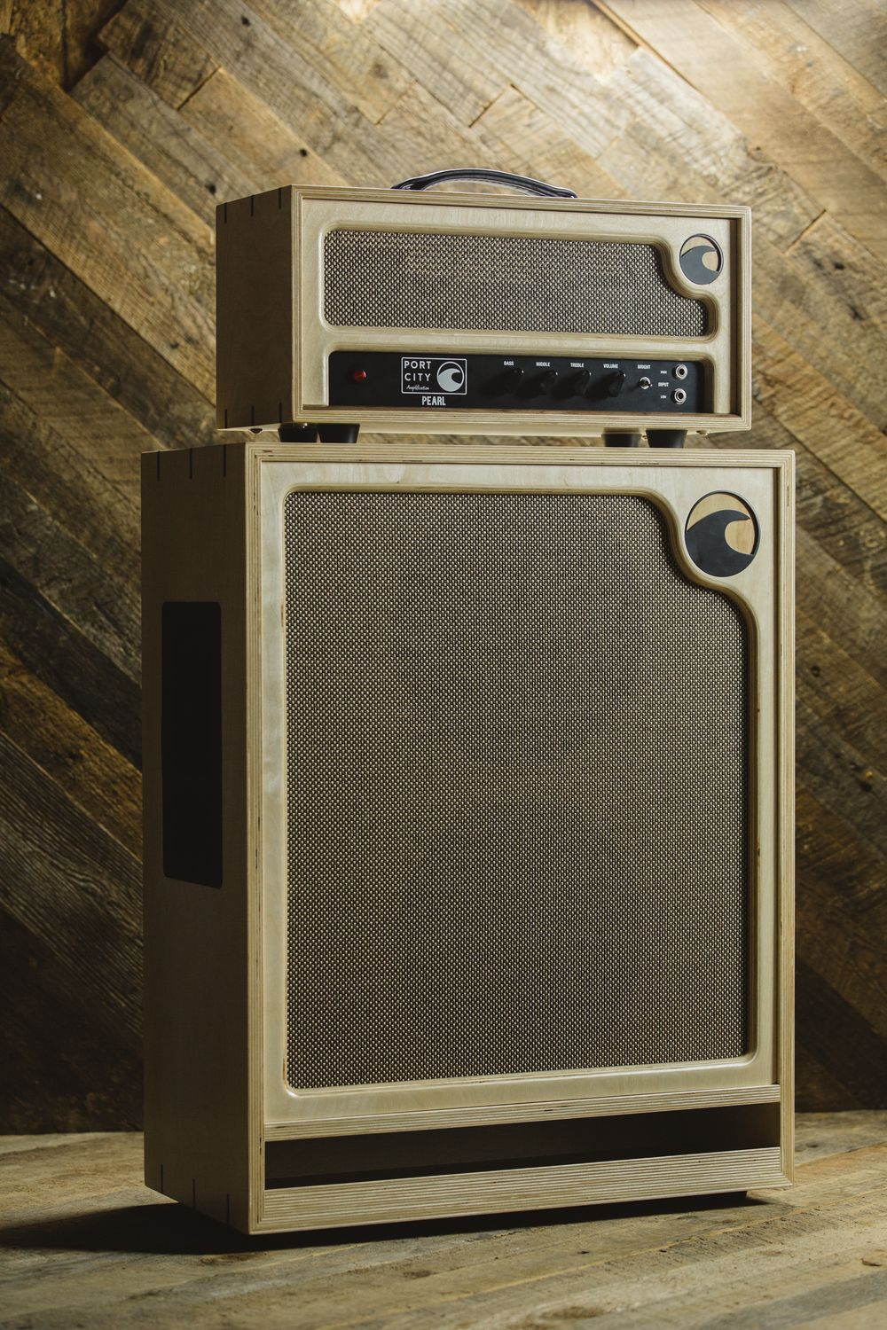 satin birch pearl head and wave cabinet port city amplification