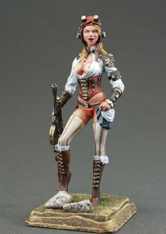 Wizard Girl Warrior Painted Toy Tin Soldier Woman 75mm Metal Figure 1//24