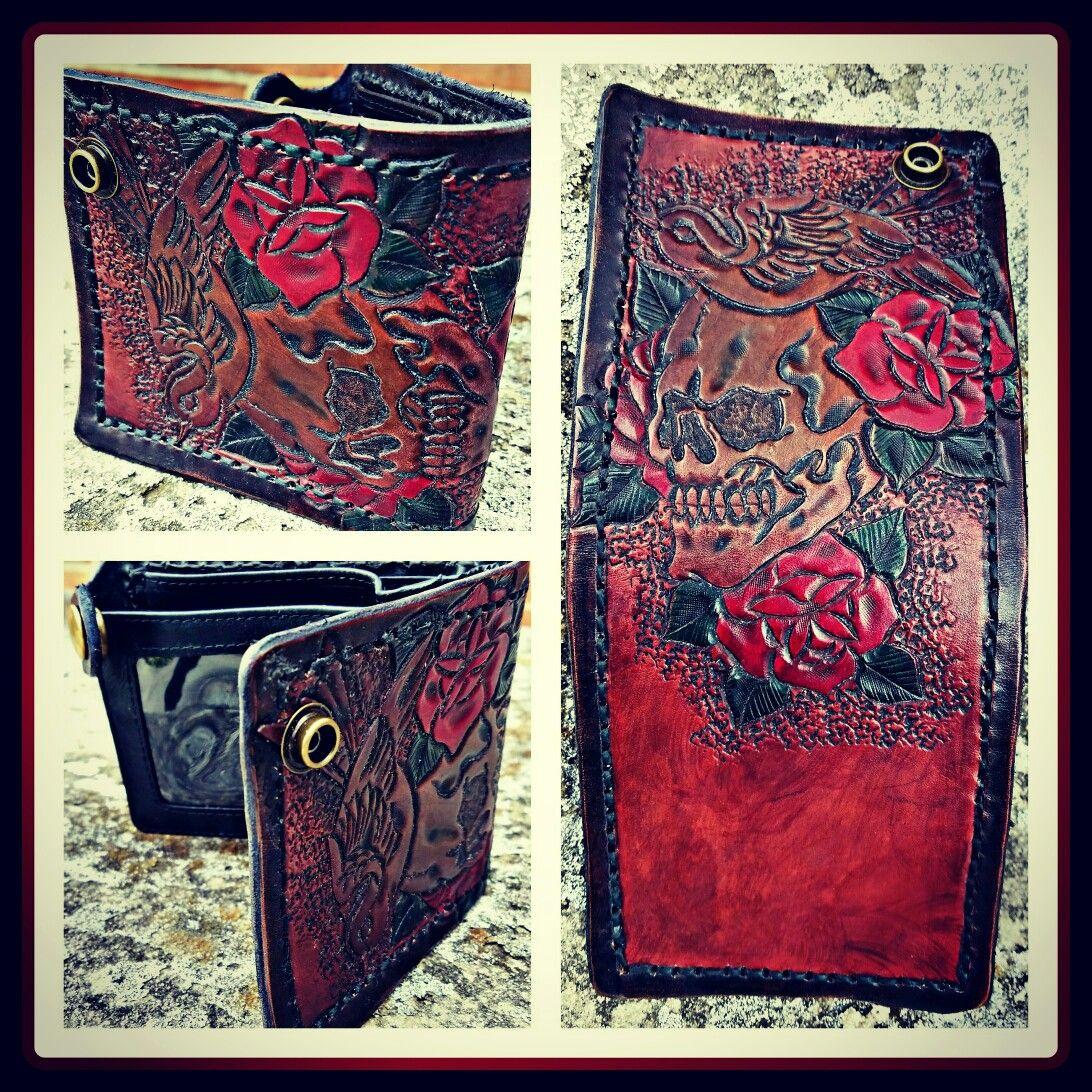 Wallet made for the Ink Master Dave Kruseman. AMMO Leatherworks, based on Kruseman line drawing.