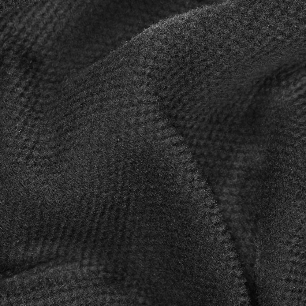 Pique Black Woolen And Worsted Wool Basketweave Fabric By The Yard