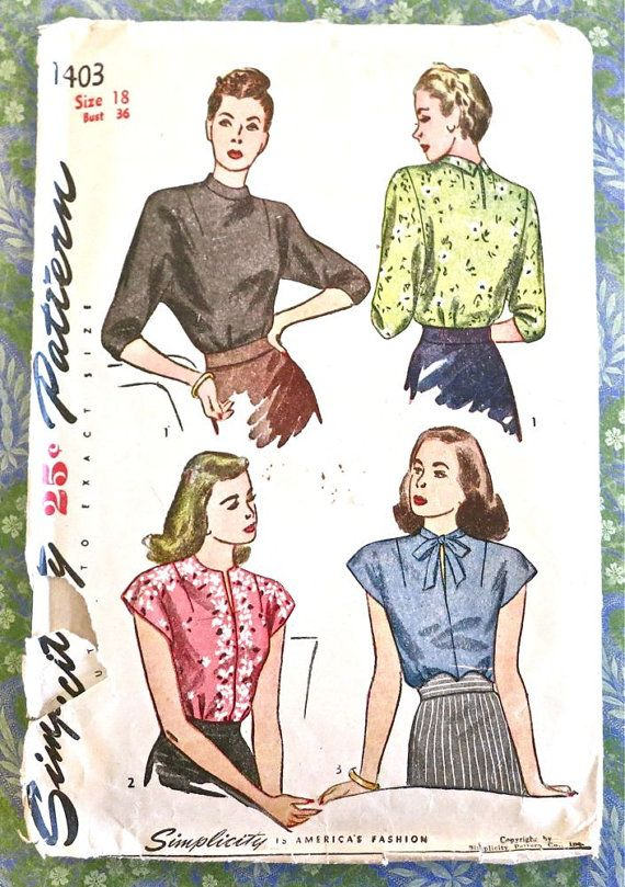Simplicity 1403 - Vintage 1940s Womens Blouse Pattern with Scarf ...