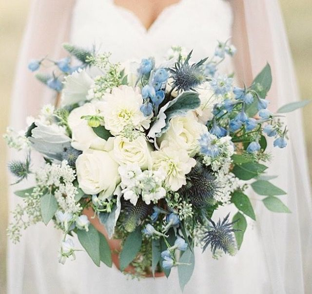 Or This Is Just Blue And White And Green Very Pretty Yellow Wedding Flowers Blue Wedding Flowers White Wedding Bouquets
