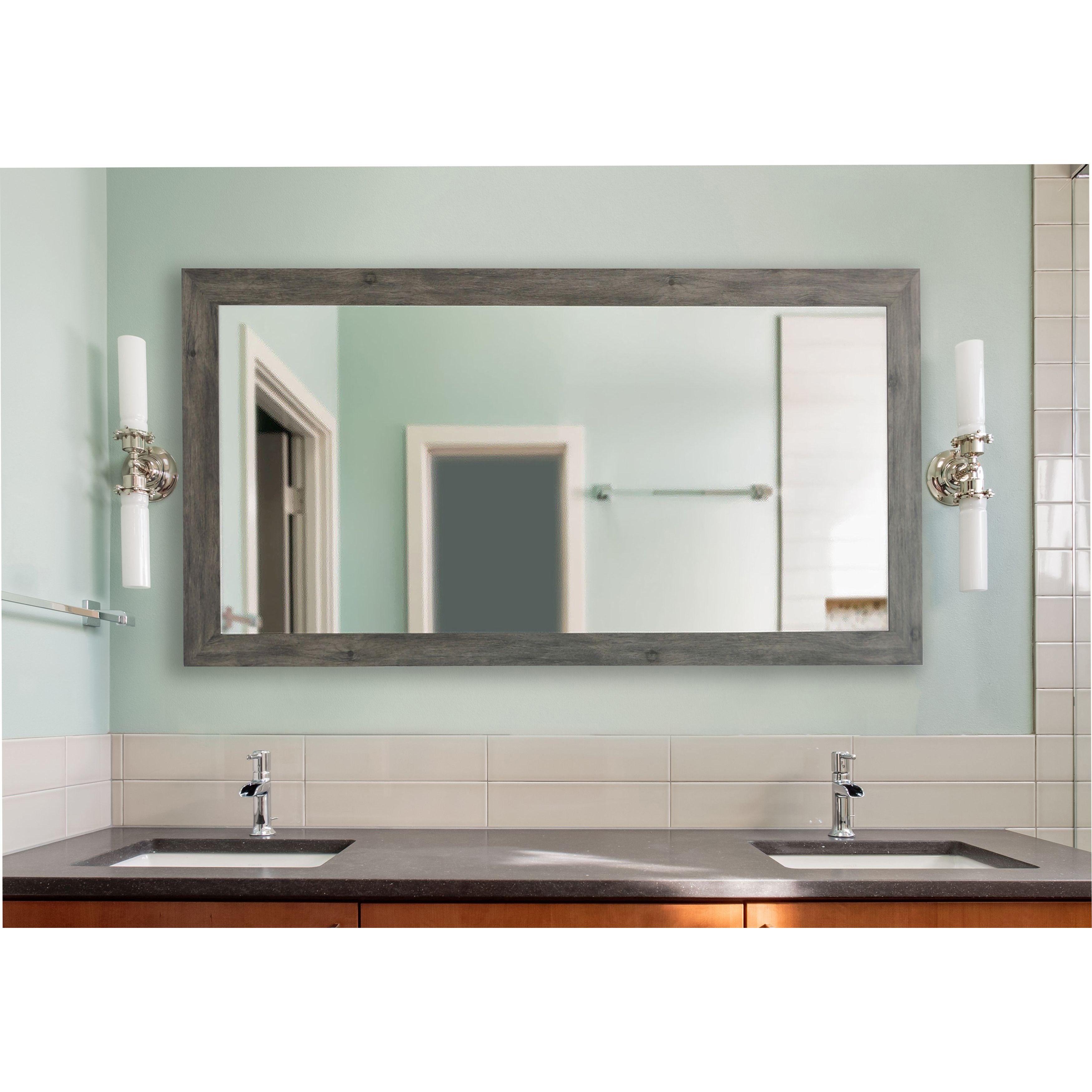 American Made Rayne Grey Barnwood Extra Large Wall/ Vanity Mirror ...