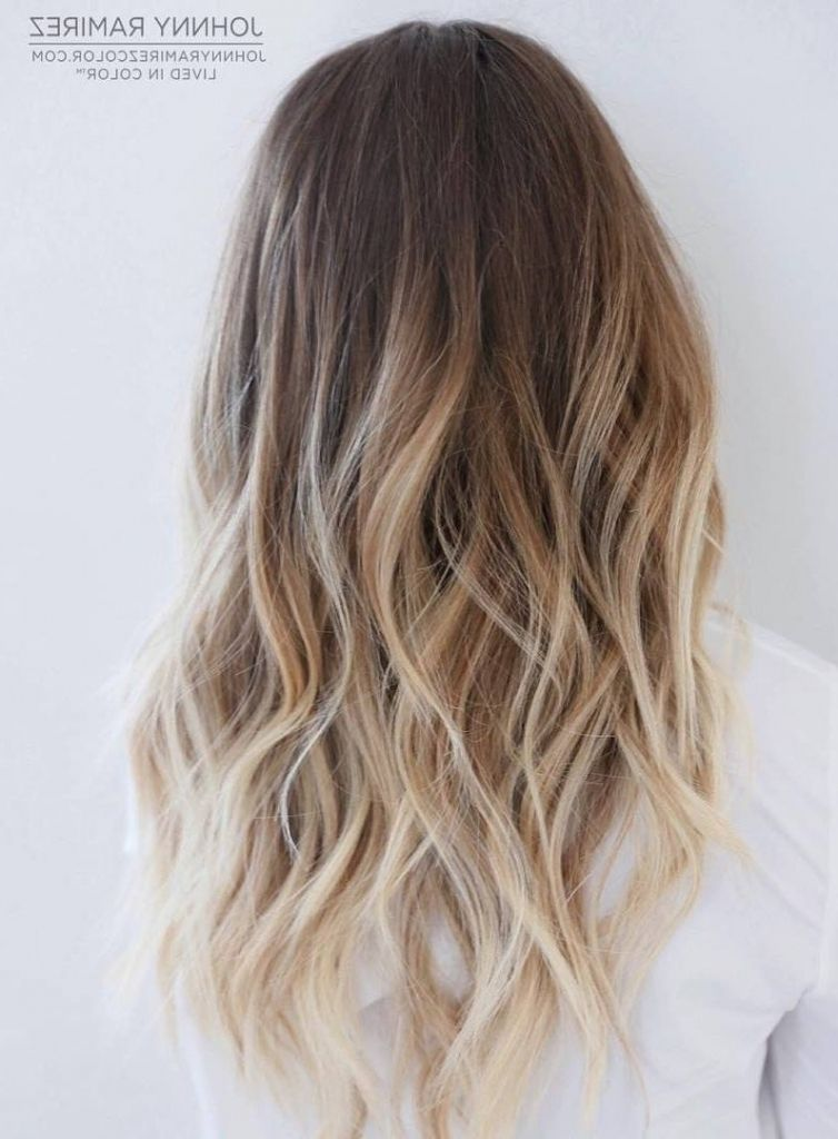 Medium length ombre balayage hair color ideas with blonde brown caramel and red - Ombre braun blond ...