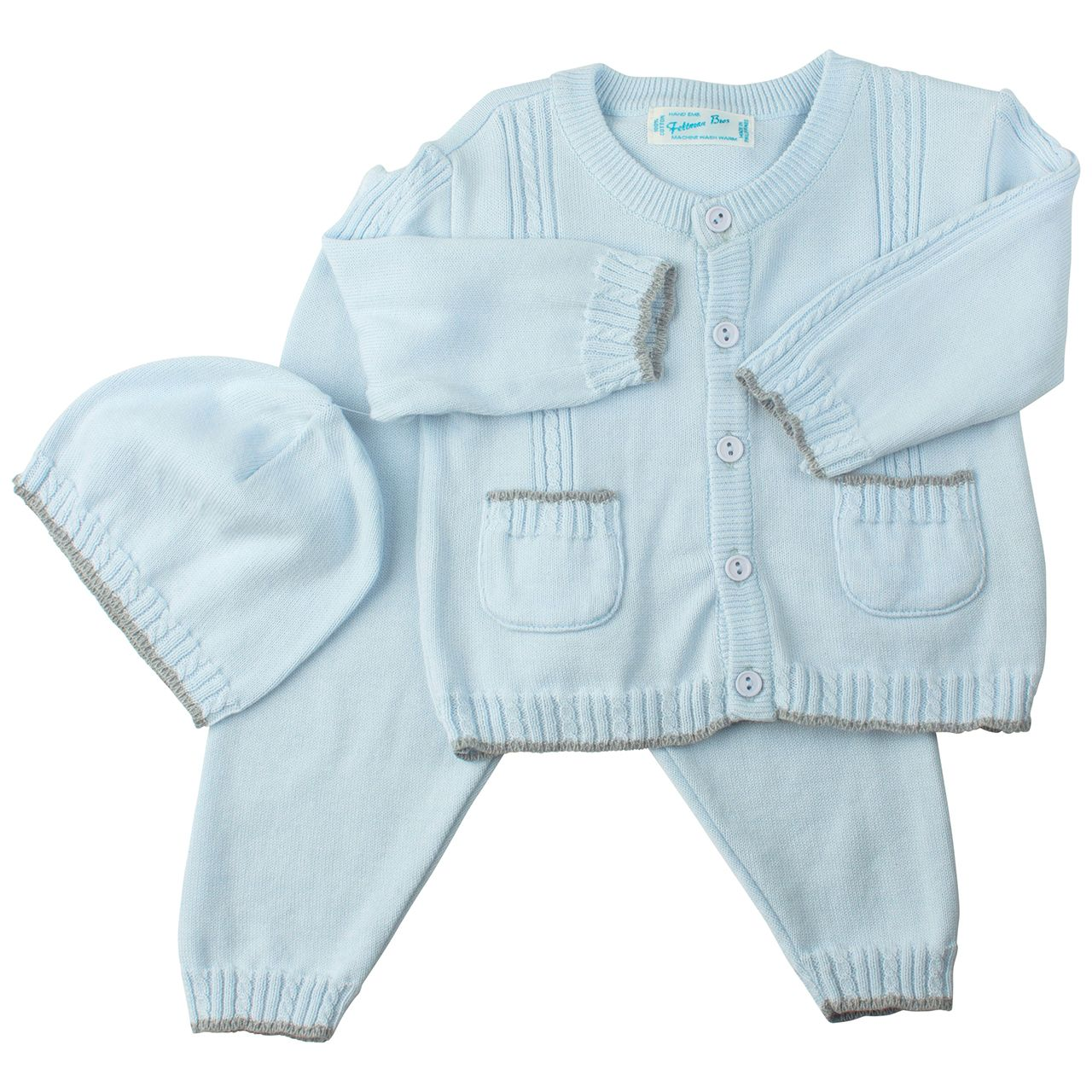 Feltman Brothers baby boy 3-piece blue and gray knit sweater set ...