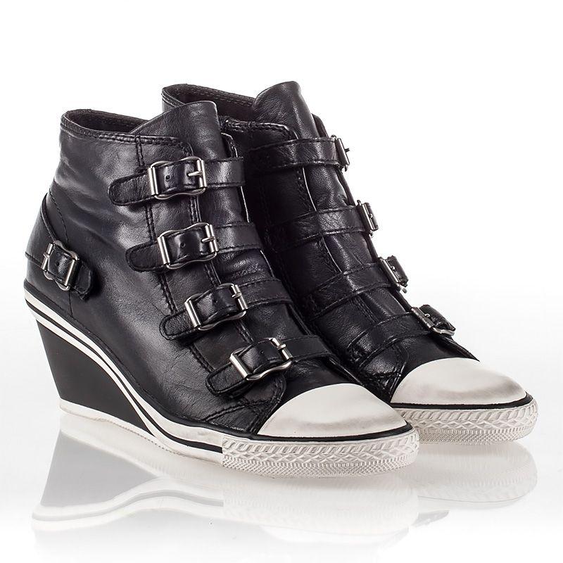88dac6c4cd8a Ash Genial Womens Wedge Sneaker Black Leather 340527 (001)