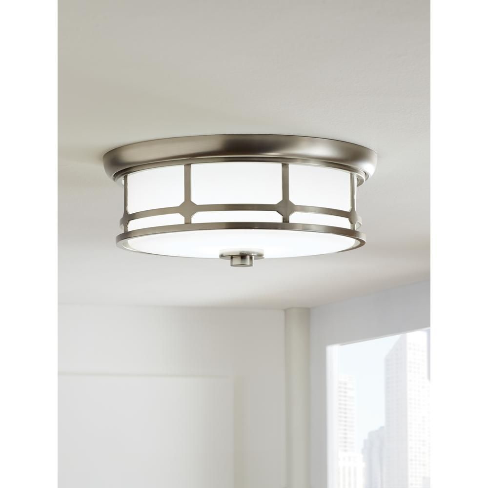 home decorators collection 14 in brushed nickel led flushmount - Home Decorators Collection Lighting